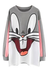 cute cartoon rabbit print loose sweatshirt rabbit cartoon and