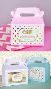 1st birthday party supplies 1st birthday party favors boxes pink and gold 1st birthday