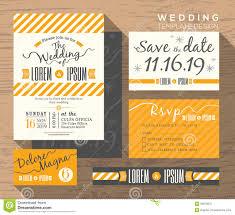modern yellow stripe wedding invitation set design template stock
