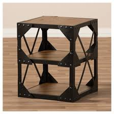 Distressed Wood End Table Hudson Rustic Industrial Style Antique Textured Finished Metal And