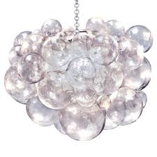 Oly Chandelier Oly Studio Muriel Clear Bubbled Silver Chandelier Kathy Kuo Home