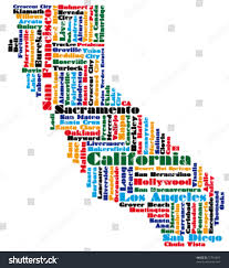 State Map Of California by Abstract Word Cloud Based Vector Map Stock Vector 72791092