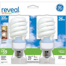 ge helical light bulbs ge cfl reveal spiral 26wt 6 bulbs 3 packs walmart com