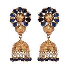 big jhumka gold earrings missori blue studded gold plated big jhumkas by missori in