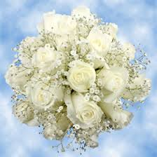 White Rose Bouquet White Roses With Babys Breath Floral Arrangements Global Rose