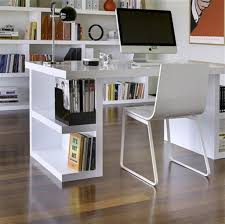 Small Desk Bookshelf Modern White High Gloss Finish Office Desk With Bookshelf And