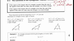 Pythagorean Theorem Triples Worksheet 8 3 The Converse Of The Pythagorean Theorem Youtube