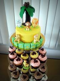 safari themed baby shower cake and cupcakes simply sweet