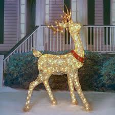 lighted deer sculptures glittering chagne turned buck