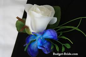 blue boutonniere white and blue orchid boutonniere