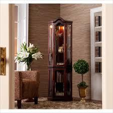 lighted curio cabinet oak holly martin riley lighted corner curio cabinet in mahogany