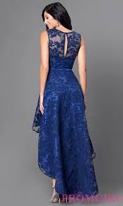 Navy Blue Lace Dress Plus Size Sleeveless High Low Lace Semi Formal Dress Promgirl