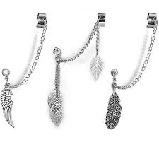 cuff earrings with chain bodyj4you 3pcs cuff earrings stud chain dangle ear wrap leaf wing