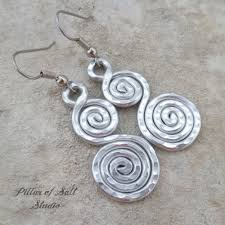 aluminum earrings hammered spiral aluminum earrings pillar of salt studio inc