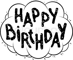 happy birthday handwritten black grunge vector card in bubble