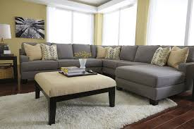 furniture ethan allen sectional sofas in grey with white fur rug
