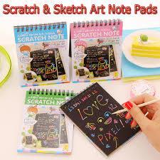 4pcs scratch sketch art note pads scratch art rainbow mini