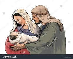 christmas nativity scene joseph mary holding stock illustration