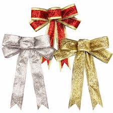 wired christmas ribbon 15cm silver gold sparkling glitter christmas bow decoration