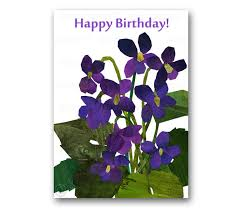 happy birthday card violets springtime by tornpaperco on zibbet