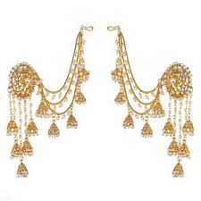 ear ring girlz gold plated devsena bahubali pearl jhumka earring with ear