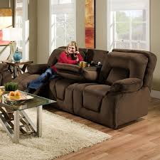 double reclining sofa with drop down table for casual family room