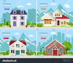 Stylish Homes Pictures by Homes Set Cute Graphic Private Houses Stock Vector 539333920