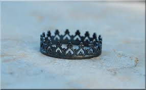 black princess crown ring oxidized sterling silver stacking zoom
