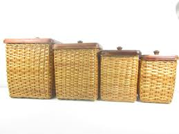 vintage canisters farmhouse kitchen wicker canister wood