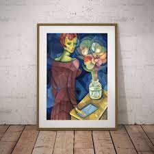 cubism flower painting abstract with flower vase painting canvas prints