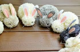 easter rabbits decorations diy pom pom easter bunny easy cheap party craft decor project