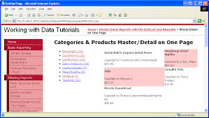 master detail using a bulleted list of master records with a