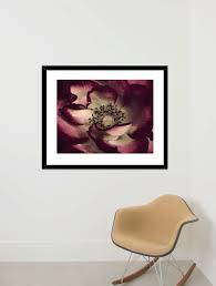 dark red floral art print burgundy mint living room macro art