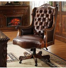 Leather And Wood Chair 2017 Solid Wood Leather Swivel Chair Manual Carve Patterns Or