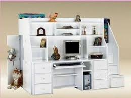 white wood loft bed with desk foter