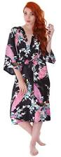 luxurious kimono robe in silky peacock floral print with pockets
