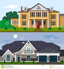Home And Yard Design by Luxury House Exterior Vector Illustration In Flat Style Design