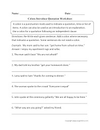 punctuation worksheets colon worksheets