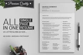 Best Resume Fonts Creative by All In One Single Page Resume Pack Resume Templates Creative