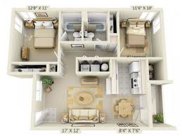 2 floor bed 3d floor plan image 1 for the 2 bed 2 bath floor plan of property