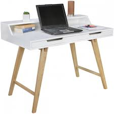 bureau 110 cm skandi retro bureau 110 x 60 cm in mat wit met eiken hout wohnling