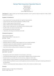 Shidduch Resume Talent Acquisition Specialist Resume Free Resume Example And