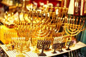 jerusalem menorah menorah showcase at the jerusalem bazaar selective focus stock