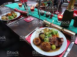 image of christmas dinner table settings with plates of food stock image of christmas dinner table settings with plates of food royalty free stock photo