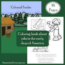 free colonial life coloring book