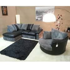 Black Corner Sofas Cuddle Couch Verana Chaise Corner Sofa With Matching Swivel