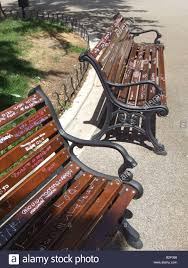 Wooden Park Bench Teen Love Graffiti On Wooden Park Bench In Italy Stock Photo
