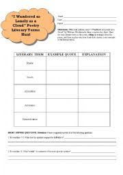 english worksheets poetry terms hunt i wandered lonely as a cloud