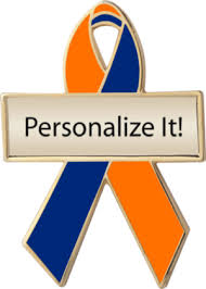 custom awareness ribbons orange and blue custom awareness ribbons lapel pins