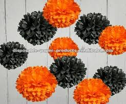 halloween decorations garlands tissue paper pom poms orange and